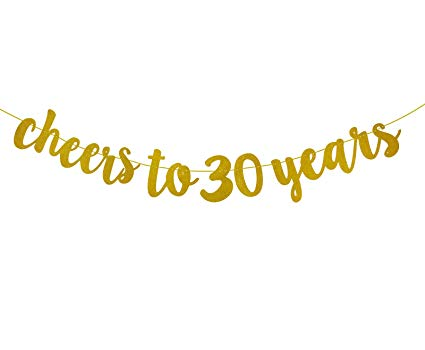 FECEDY Gold Glitter Cheers to 30 Years Banner for 30th Birthday Party.