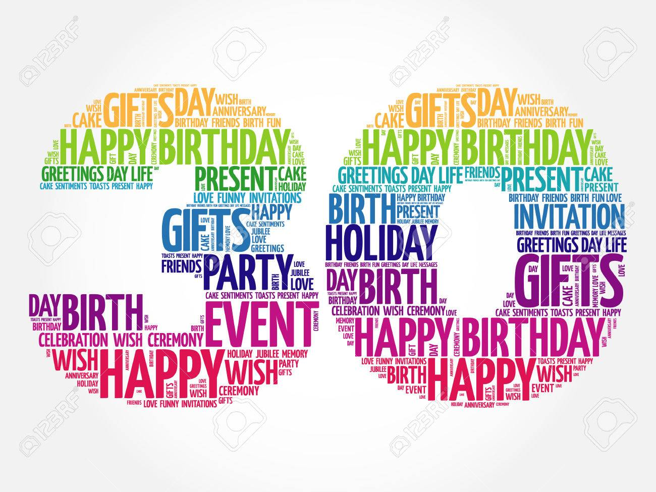 Happy 30th birthday word cloud collage concept.