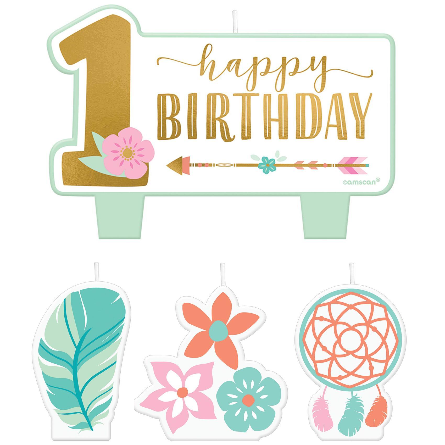 Boho 1st Birthday Girl Candle Set 4pcs.