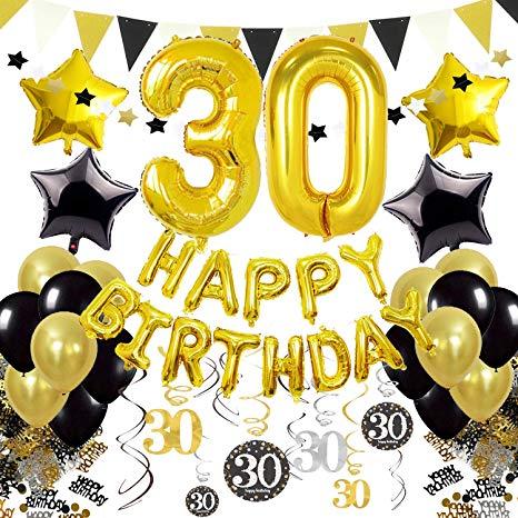 Cocodeko 30th Birthday Decorations, Black Gold Happy Birthday Balloons  Number 30 Star Foil Balloons Birthday Confetti Triangular Garland  Star.