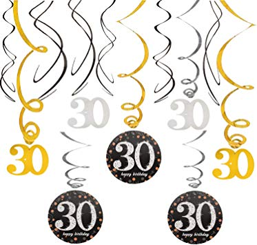 30 Birthday Swirls Foil Streamers Happy 30th Birthday Cheers to Thirty  Years Old Party Decoration Supplies.
