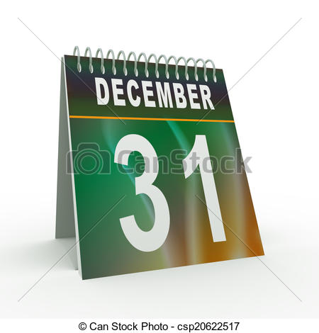 Clipart of 3d 31 december calendar.