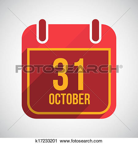 Clipart of 31 October Flat calendar icon with long shadow.