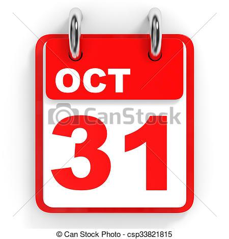 Clipart of Calendar on white background. 31 October. 3D.