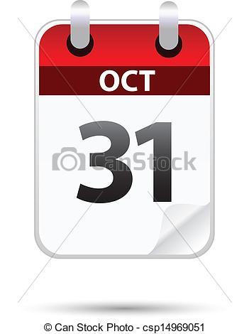 Clipart Vector of 31 October calendar on white csp14969051.
