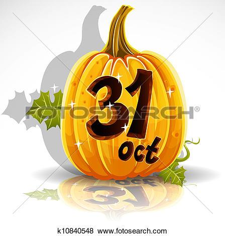 Clip Art of Happy Halloween cut out pumpkin k10842957.