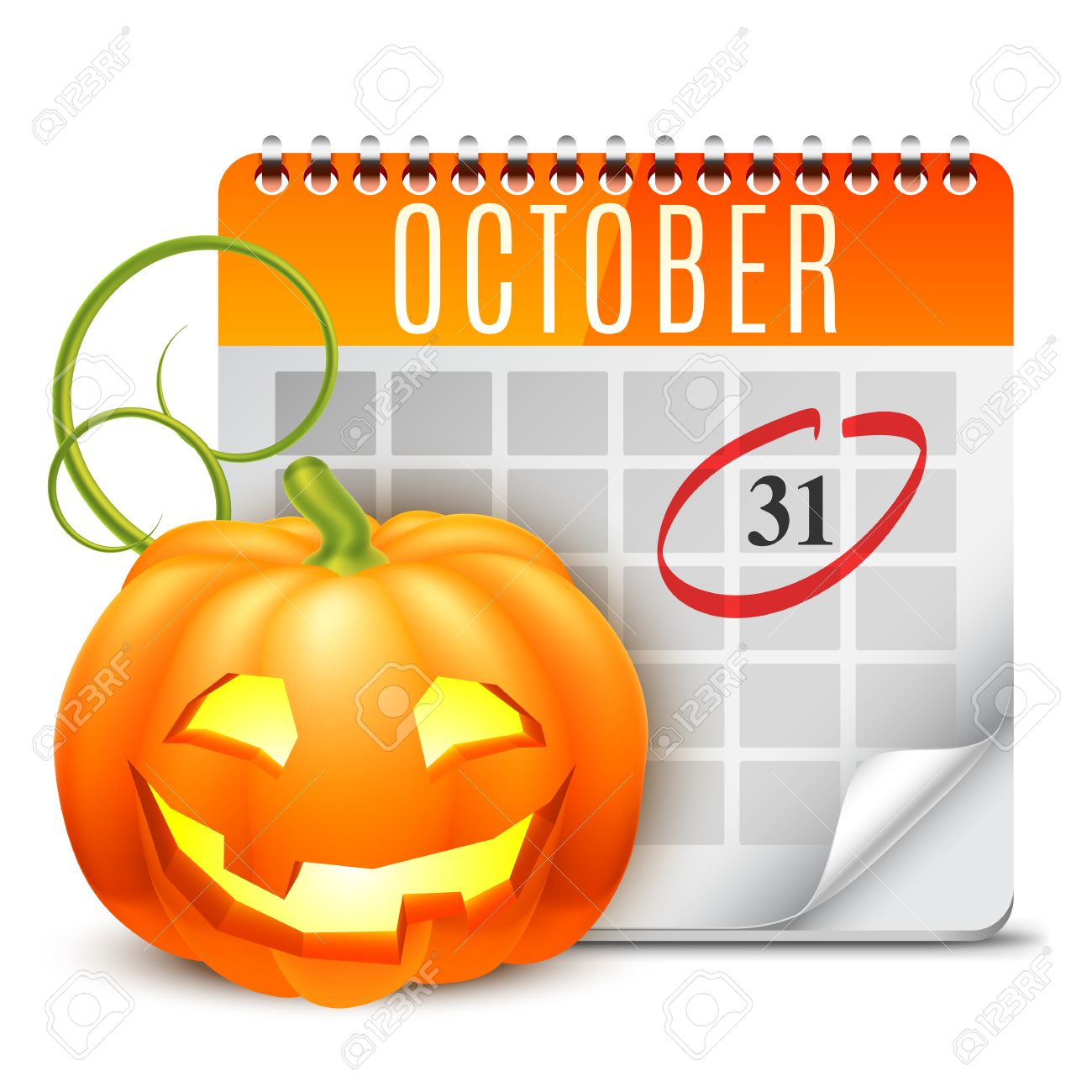 Halloween Calendar With October 31 Date And Pumpkin Royalty Free.