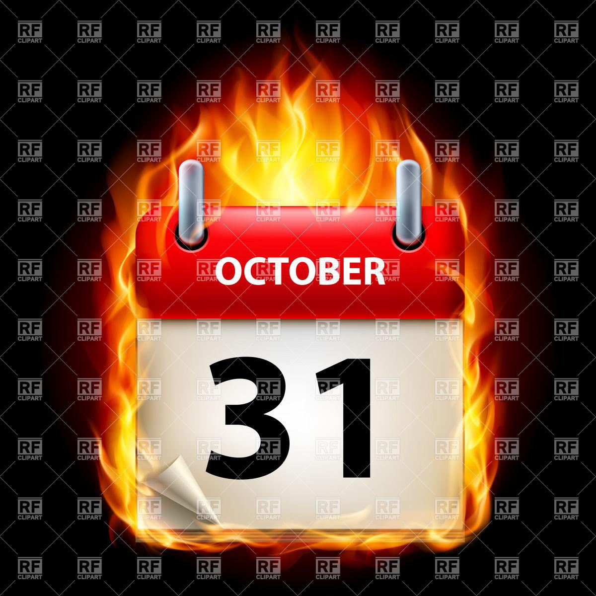 31 of October in fiery calendar icon Vector Image of Calendars.