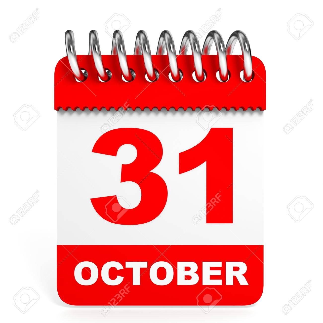Calendar On White Background. 31 October. 3D Illustration. Stock.