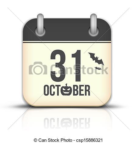 Clip Art of Halloween calendar icon with reflection. 31 October.