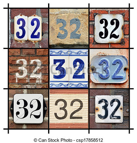 Clipart of Numbers 32.