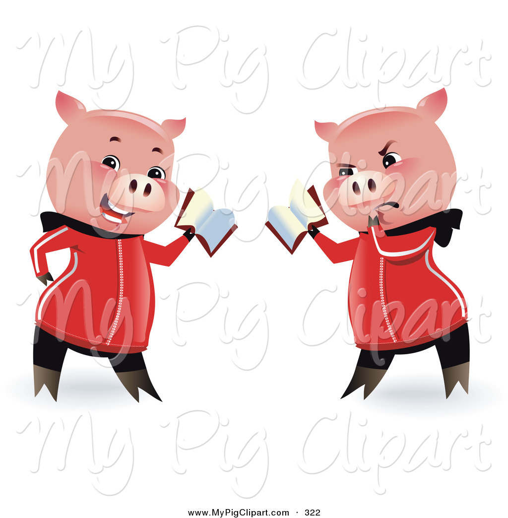 Swine Clipart of a Pair of Reading Pigs Holding a Book by Monica.