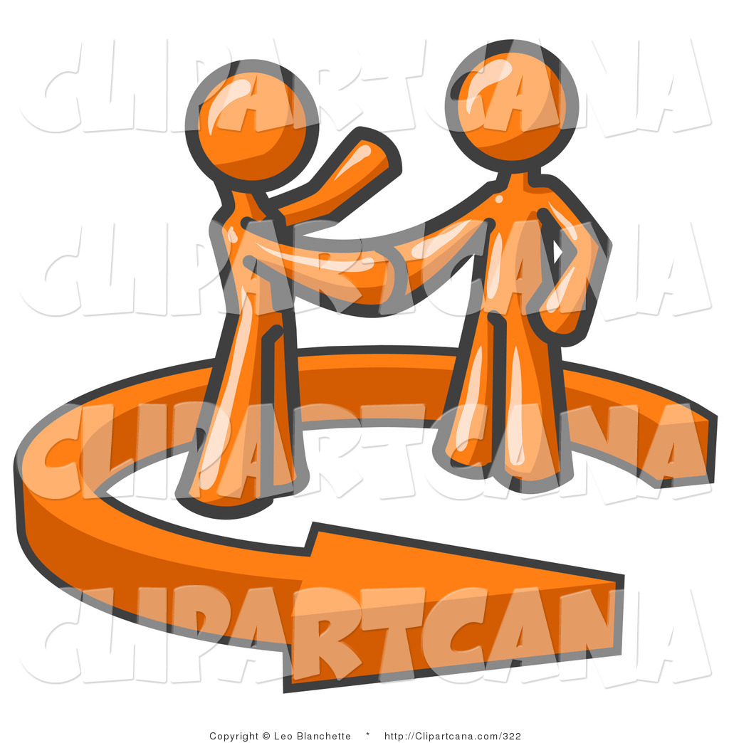 Vector Clip Art of a Two Orange Salesmen Shaking Hands with a.