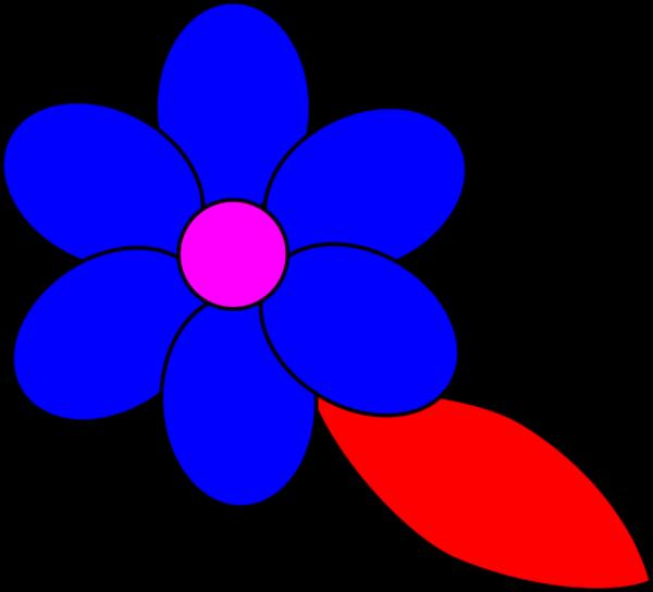 Flower six red petals black outline green leaf.