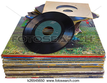 Stock Photography of pile of 45 and 33 RPM vinyl records used and.
