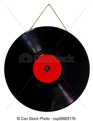 Picture of vinyl 33 rpm hanging with string as a picture.