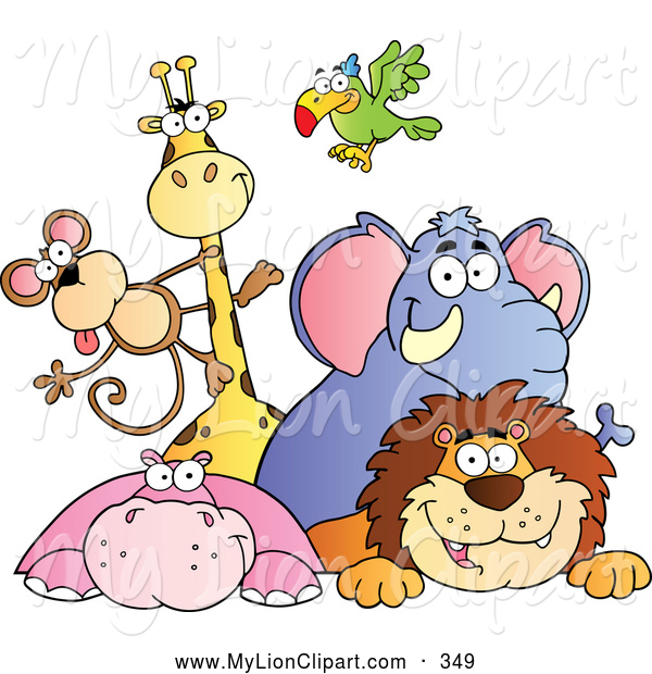 Clipart of a Cute Group of Zoo Animals over a Sign by Hit Toon.