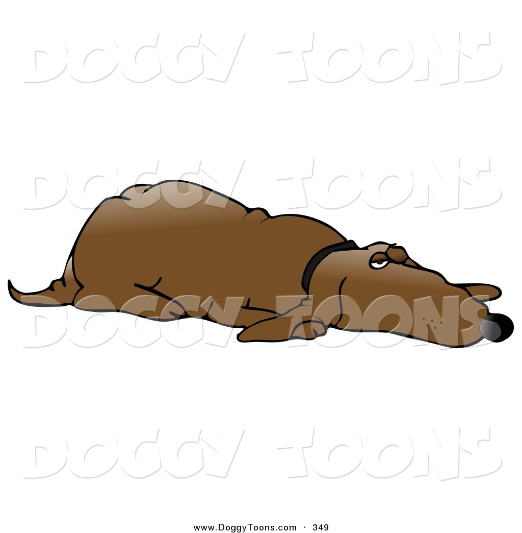 Doggy Clipart of a Lazy Old Brown Hound Dog Lying down on His.