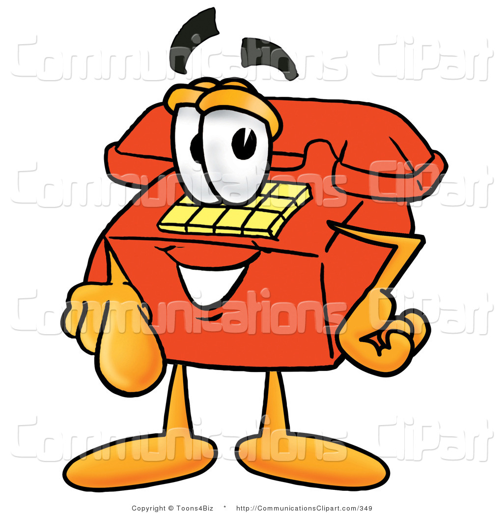 Communication Clipart of a Happy Red Telephone Mascot Cartoon.