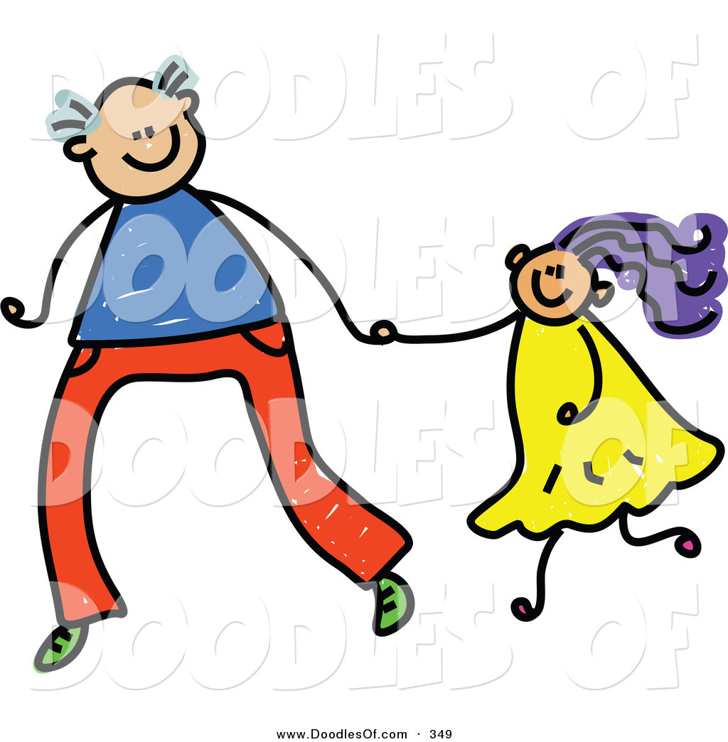 Vector Clipart of a Childs Sketch of a Tall Father Holding Hands.