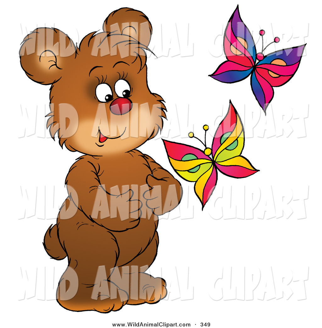 Clip Art of a Happy Brown Bear Cub Watching Two Colorful Butterflies.