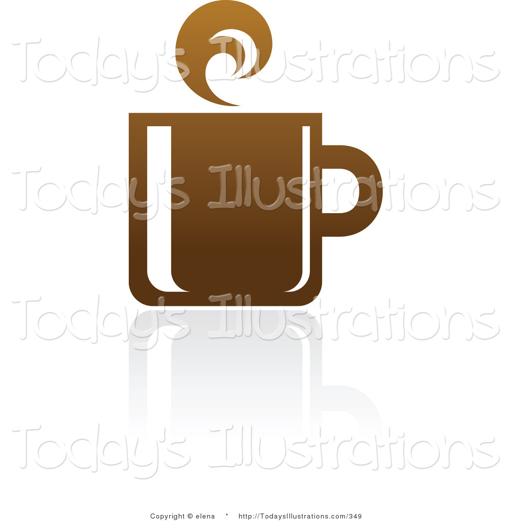 Clipart of a Brown Coffee Logo Design or Application Icon on White.