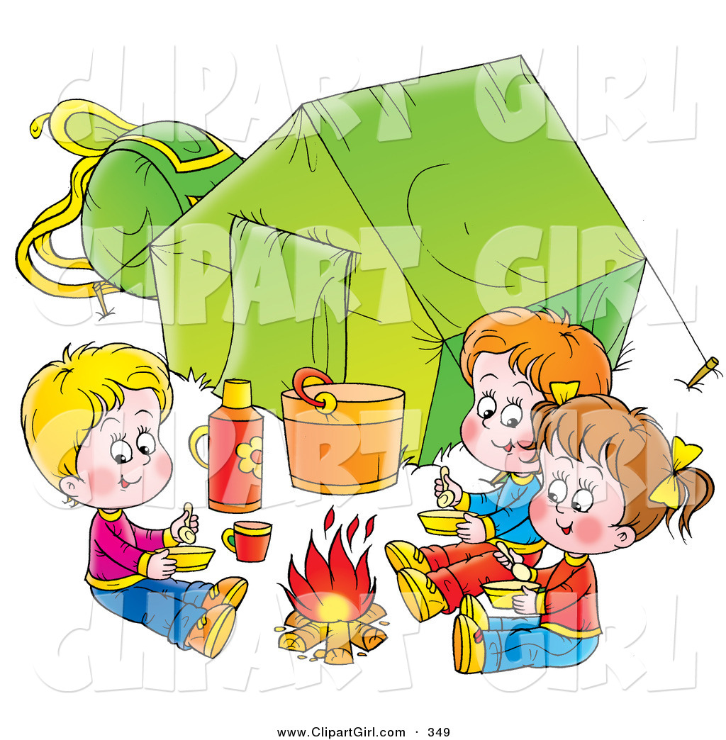 Clip Art of a Trio of Children Eating Around a Campfire Outside.