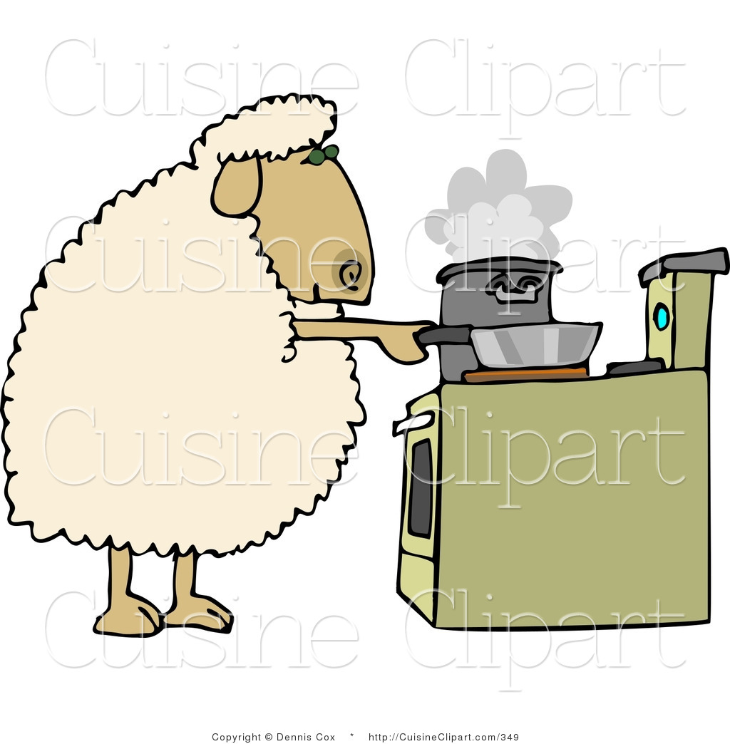 Cuisine Clipart of a Sheep Cooking Dinner in Pots on a Stove by.