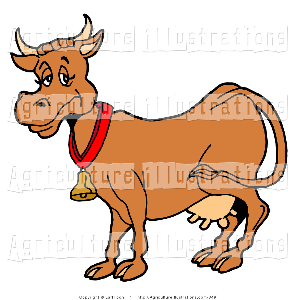 Agriculture Clipart of a Cute Brown Dairy Cow with Full Udders.