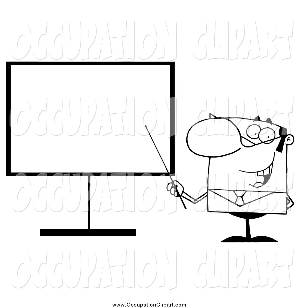 Clip Art of a Black and White Businessman Pointing a Stick at a.