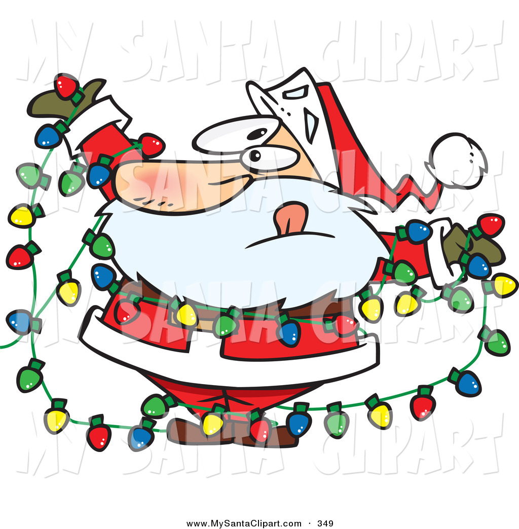 Christmas Clip Art of a Caucasian Santa Claus Tangled in a Mess of.