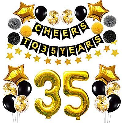 Succris 35th Birthday Decorations Balloons,35th Anniversary.