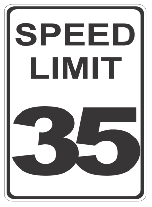Speed Limit 35 sign.