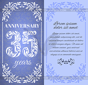 35 years. Template with floral frame and pattern.
