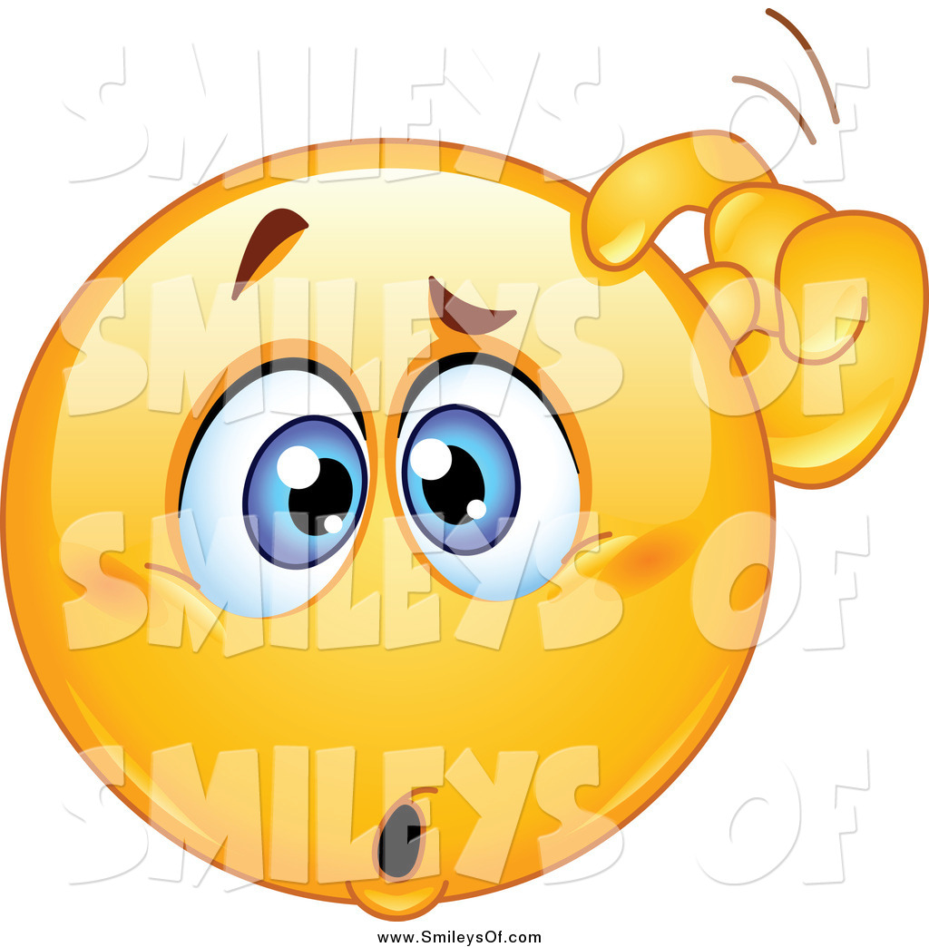 Vector Clipart of a Confused Smiley Scratching His Head by.