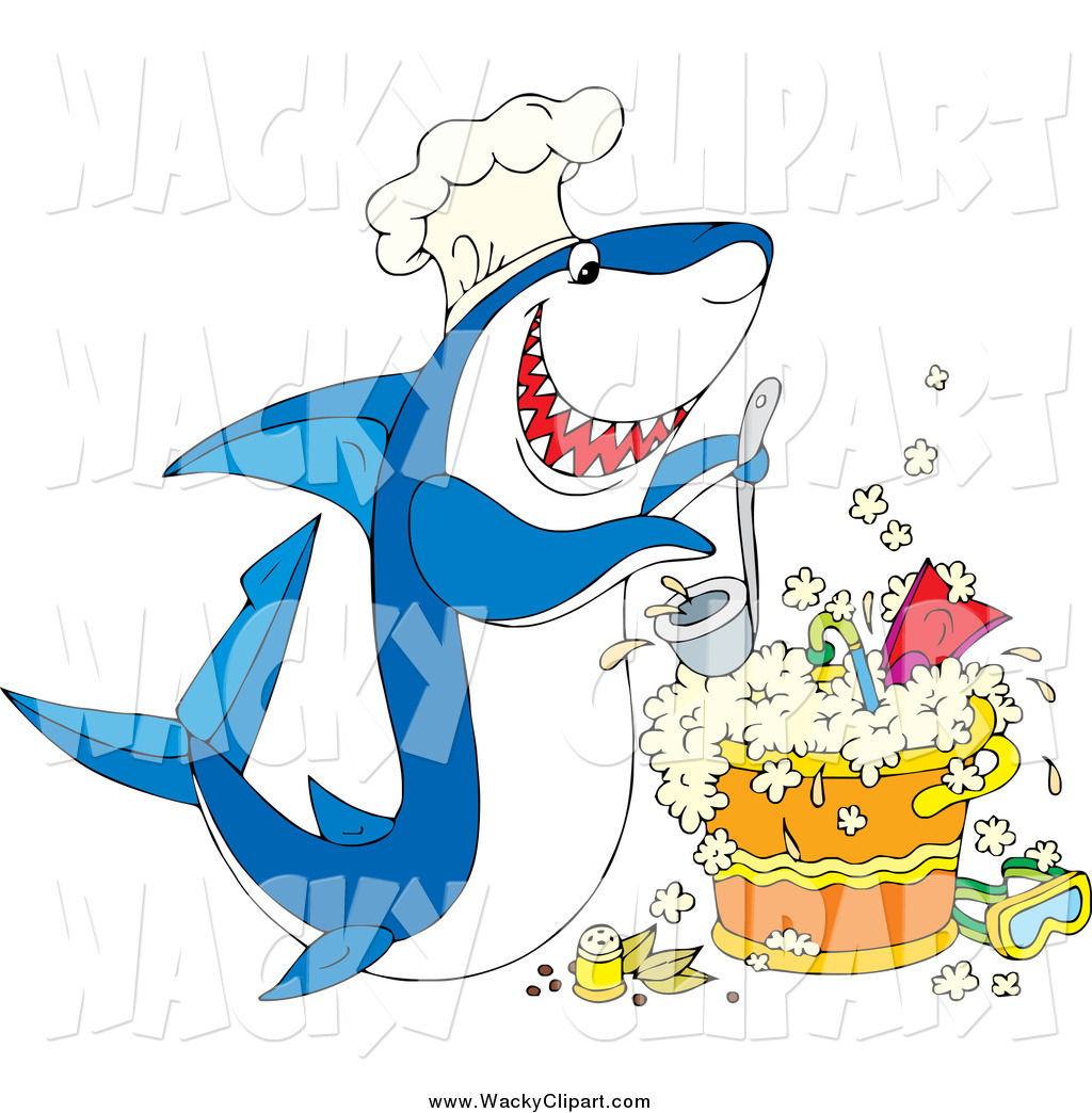 Clipart of a Hungry Shark Chef Cooking a Pot of Scuba Stew by Alex.