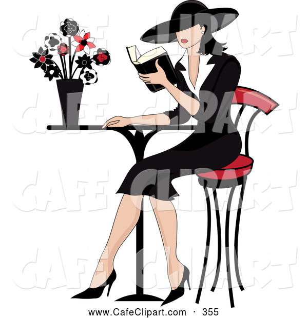 Vector Clip Art of a Beautiful French Woman Reading a Book at a.