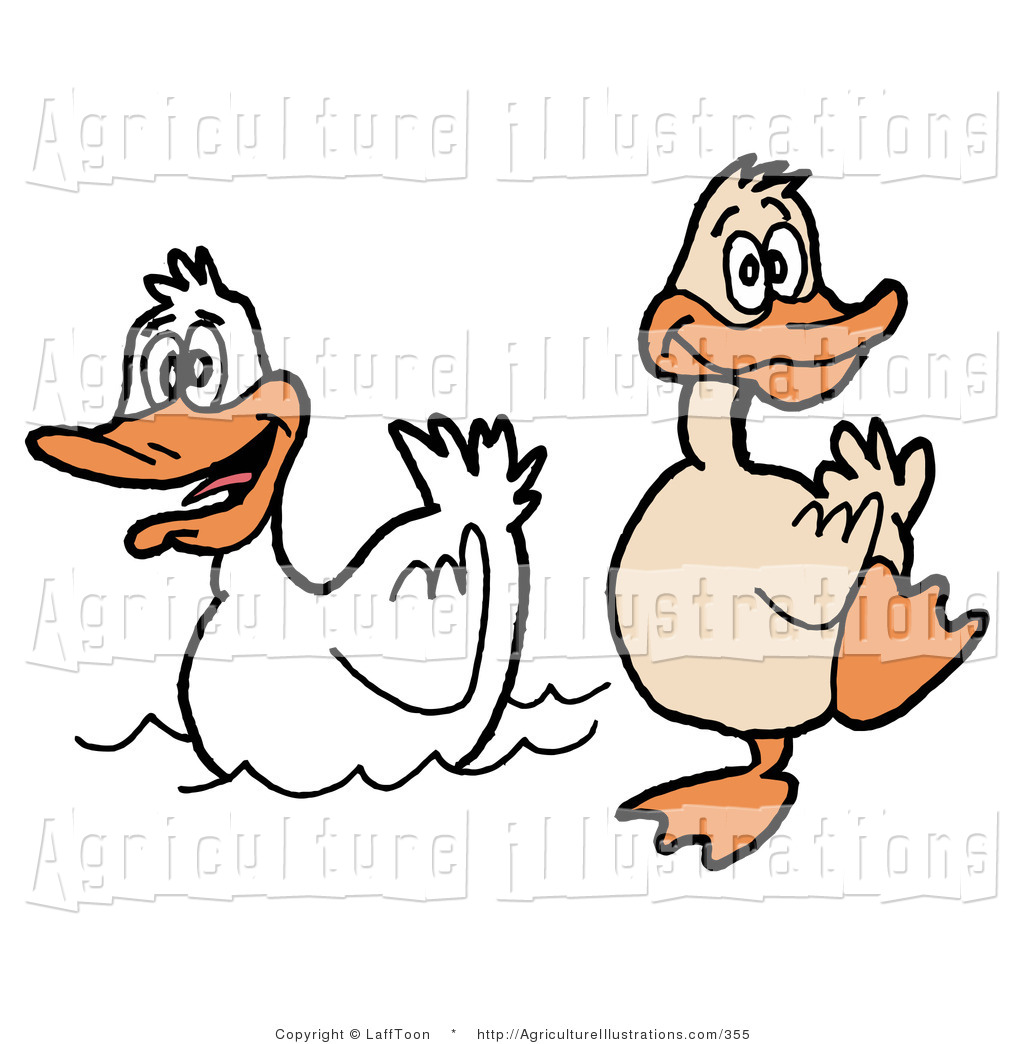 Agriculture Clipart of a Goofy Duck Waddling on the Shore near.