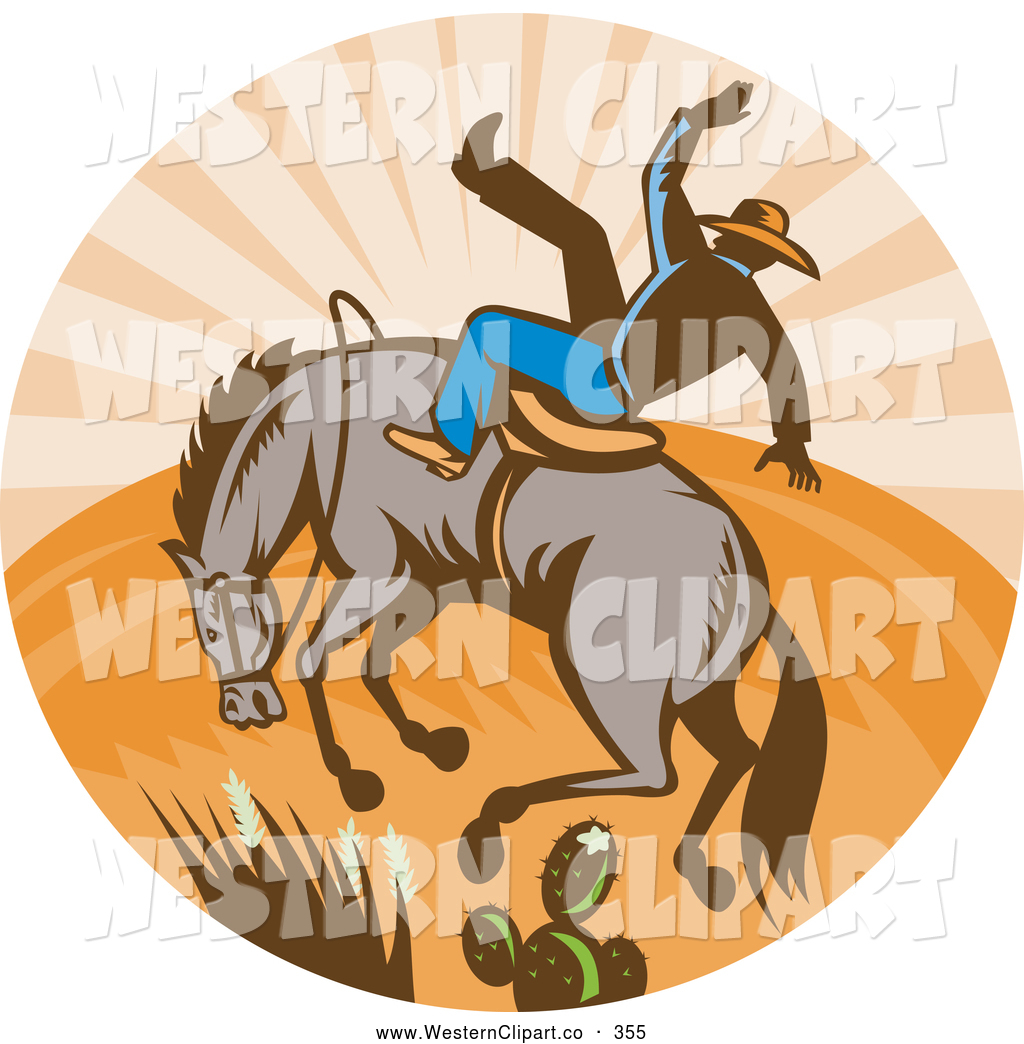Vector Western Clip Art of a Retro Old Fashioned Bull and Cowboy.