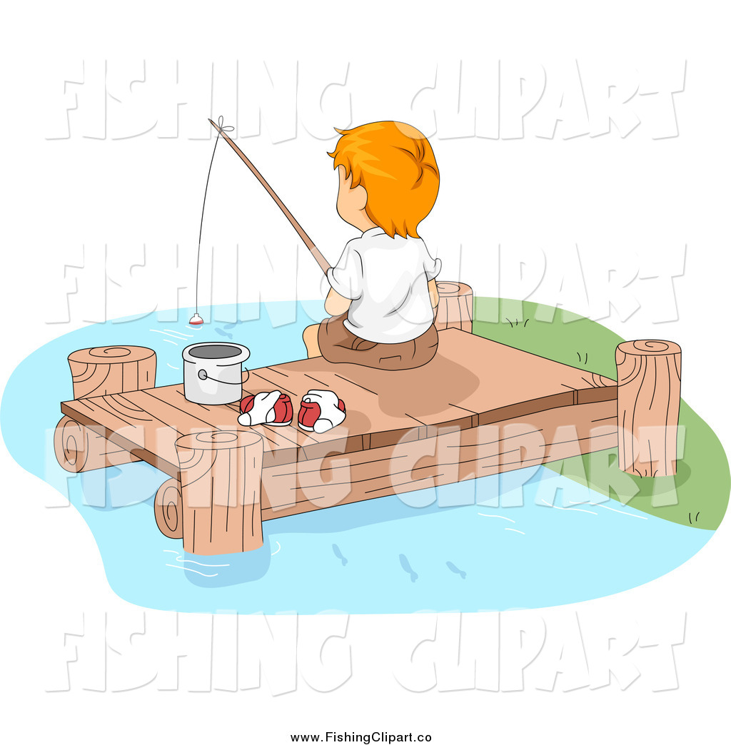 Clip Art of a White Boy Fishing off of a Lake Dock by BNP Design.