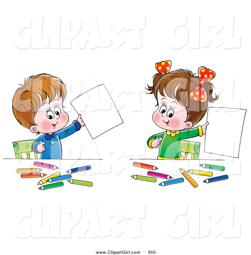 Clip Art of a Cute Little Boy and His Sister Proudly Holding up.