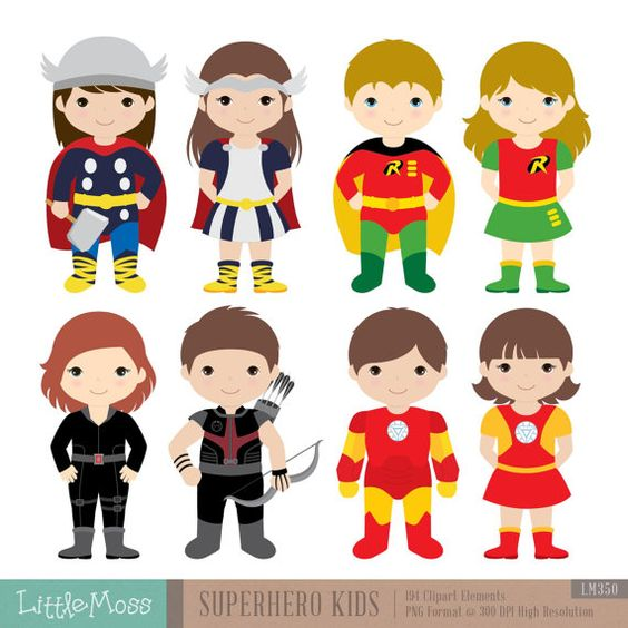 36 Kids Superhero Costumes Clipart, Superheroes Kids Clipart.