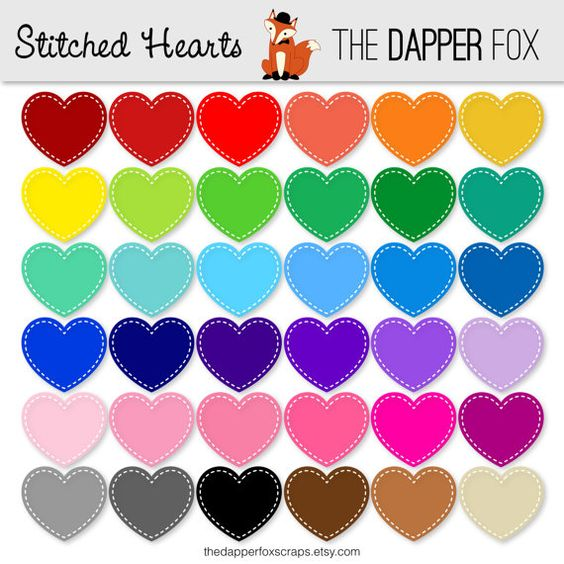 Rainbow Stitched Hearts Digital Clipart Clip Art.