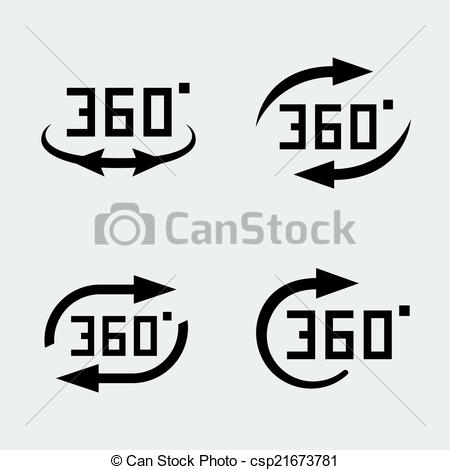 Vector of Vector '360 degree rotation' concept icons set.