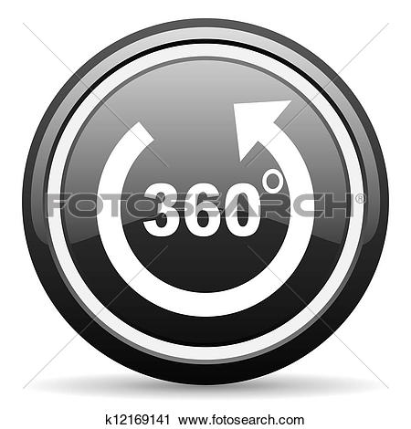 Clipart of 360 degrees panorama black glossy icon on white.