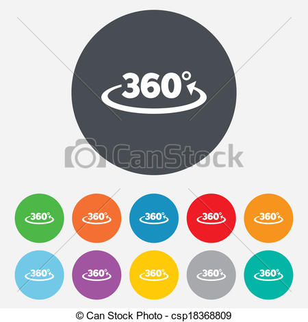 Vector Clip Art of Angle 360 degrees sign icon. Geometry math.