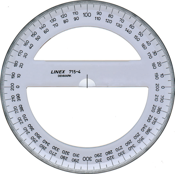 Circular protractor: 360 degree measurements in 2019.