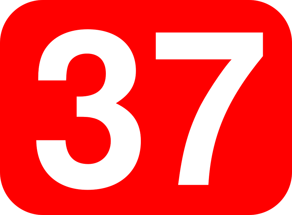 Free vector graphic: Number, 37, Thirtyseven, Rounded.
