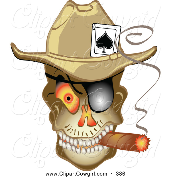 Clipart of a Evil Skeleton Cowboy with an Ace of Spades in His Hat.