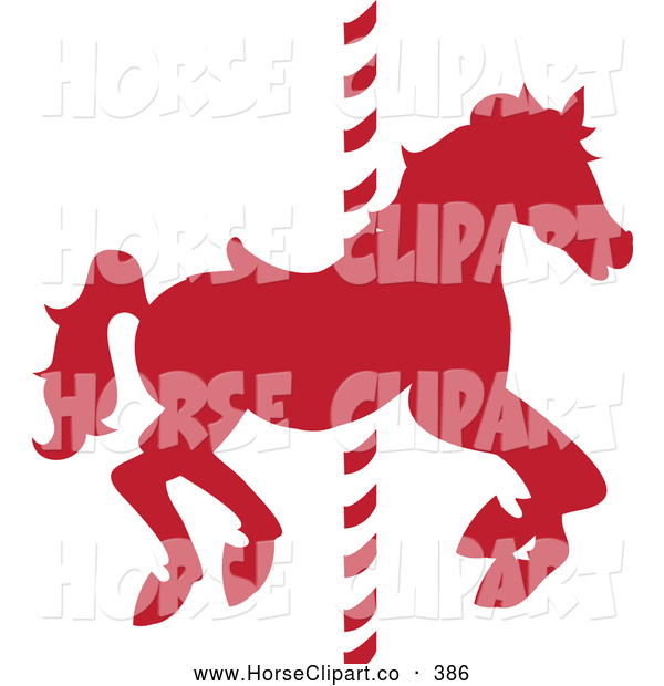 Clip Art of a Silhouetted Red Carousel Horse on a Striped Pole by.